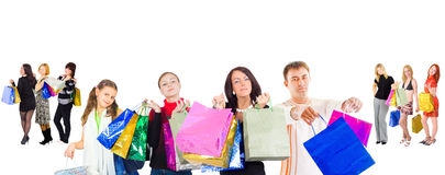 Family shopping isolated over white.  Royalty Free Stock Photo