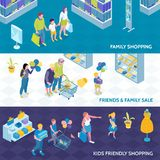 Family Shopping Isometric Banners royalty free illustration