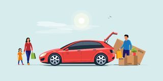 Family Shopping and Loading the Car Trunk with Purchase. Flat vector illustration of a man with family coming from shopping and loading the car trunk with vector illustration