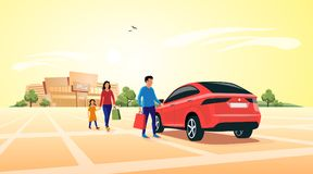 Family Shopping at Mall Approaching Car. Young shopping family coming out of shopping mall and approaching their family suv car parking in front of the shop royalty free illustration