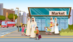 Family Shopping in Muslim District Flat Vector royalty free illustration