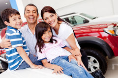 Family shopping for new car Royalty Free Stock Photo
