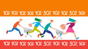 Family Shopping Run Trolley Sale Discount Stock Images