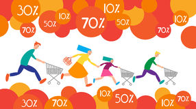 Family Shopping Run Trolley Sale Discount Royalty Free Stock Images