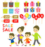 FAMILY shopping, Sale, Price tags. FAMILY go shopping, Sale, Price tags and balloons, gift boxes, file, set royalty free illustration