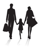 Family Shopping silhouette Stock Photography