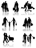 Family Shopping  Silhouettes with Shadow Royalty Free Stock Image