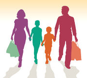 Family shopping silhouettes. Family shopping vector detailed silhouettes royalty free illustration