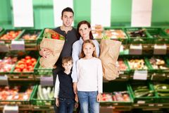Family shopping in supermarket Royalty Free Stock Image
