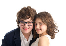 Family shot of brother and sister isolated Stock Photos