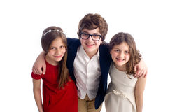 Family shot of a brother and two sisters isolated Stock Photography