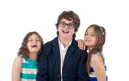 Family shot of a brother and two sisters isolated Royalty Free Stock Images