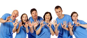 "Family showing ""We Love Family"" on hands, Stock Image"
