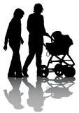 Family sidecar at walking. Vector drawing families with children. Silhouettes on a white background Royalty Free Stock Photo