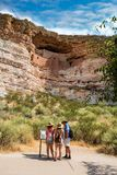 Family on sightseeing trip exploring  Montezuma Castle National Monument Royalty Free Stock Photos