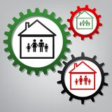 Family sign illustration. Vector. Three connected gears with icons at grayish background.. Illustration. stock illustration