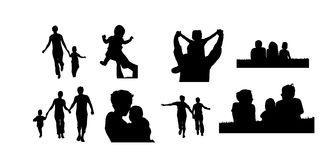 Family silhouette. Jpg vector version Royalty Free Stock Images