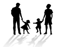 Family silhouette. Happy family silhouette against a white background stock illustration