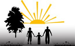 Family silhouette Stock Photos