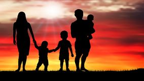 Family silhouette of a beautiful sunset, vector Royalty Free Stock Images