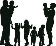 Family. Silhouette of big family - vector illustration Stock Images