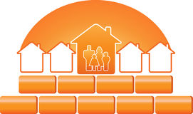 Family silhouette and construction sign Royalty Free Stock Photo