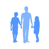Family Silhouette Father with Two Kids Holding Stock Photo