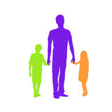 Family Silhouette Father with Two Kids Holding Stock Images