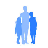 Family Silhouette Father with Two Kids Holding Stock Image