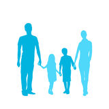 Family Silhouette, Full Length Couple with Two Royalty Free Stock Photo