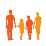 Family Silhouette, Full Length Couple with Two Stock Photos