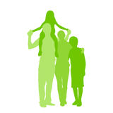 Family Silhouette, Full Length Couple with Two Stock Photo