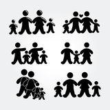 Family silhouette gray Royalty Free Stock Images