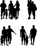 Family silhouette - Illustration Stock Photo