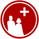 Family silhouette and medical symbol Stock Photography