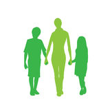 Family Silhouette Mother with Two Kids Holding Stock Photos