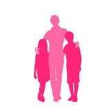 Family Silhouette Mother with Two Kids Holding Royalty Free Stock Photography