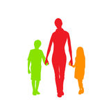 Family Silhouette Mother with Two Kids Holding Stock Images