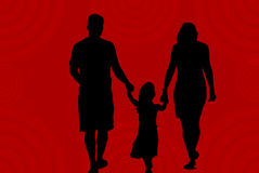 Family Silhouette on Red Royalty Free Stock Photography