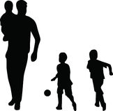 Family silhouette vector Stock Photo