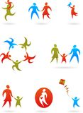 Family silhouettes  - 1. Collection of family silhouettes / icons / logos Stock Photography