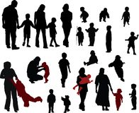Family silhouettes. Vector silhouettes of Family (mother, father, boys and girls Stock Photography