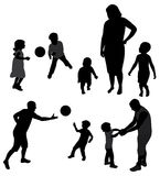 Family silhouettes. Stock Photos