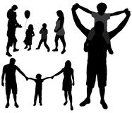 Family silhouettes. Royalty Free Stock Images