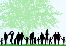Family silhouettes. Big family concept Stock Image
