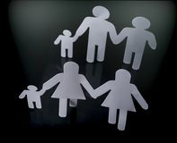 Family silhouettes with children isolated on black background. Conceptual image Royalty Free Stock Photo