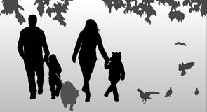 Family silhouettes Royalty Free Stock Images