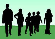 Family silhouettes Stock Photo