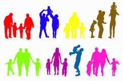 Family silhouettes Stock Images
