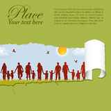 Family silhouettes through a hole in a paper stock illustration